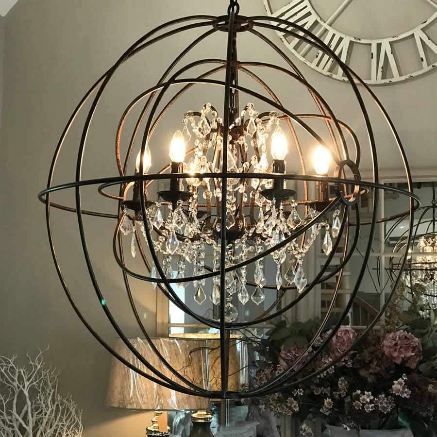 Large Round Metal Foucaults Double Orb Chandelier Crystal