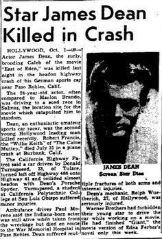 Car Collision Kills Actor James Dean, Dallas Morning News