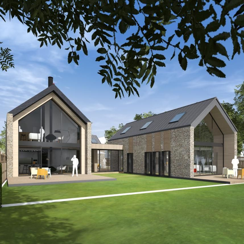 Architectures Projet Pi Barn Style House Modern Barn House House Exterior House plan modern barn