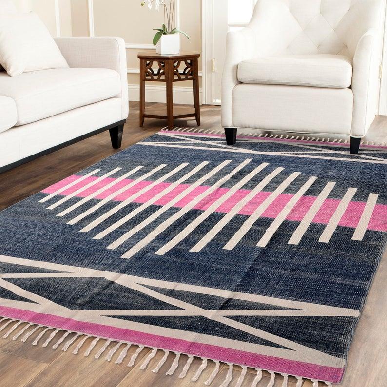 6x9 Feet Handmade Block Printed Rug Rug Runner Carpet Etsy Rugs On Carpet Indian Rugs Floor Rugs