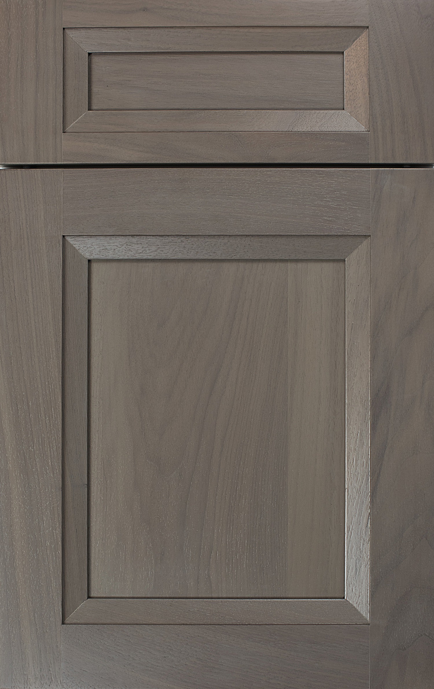 whitney ii recessed door style by woodmode shown in matte shale finish on walnut