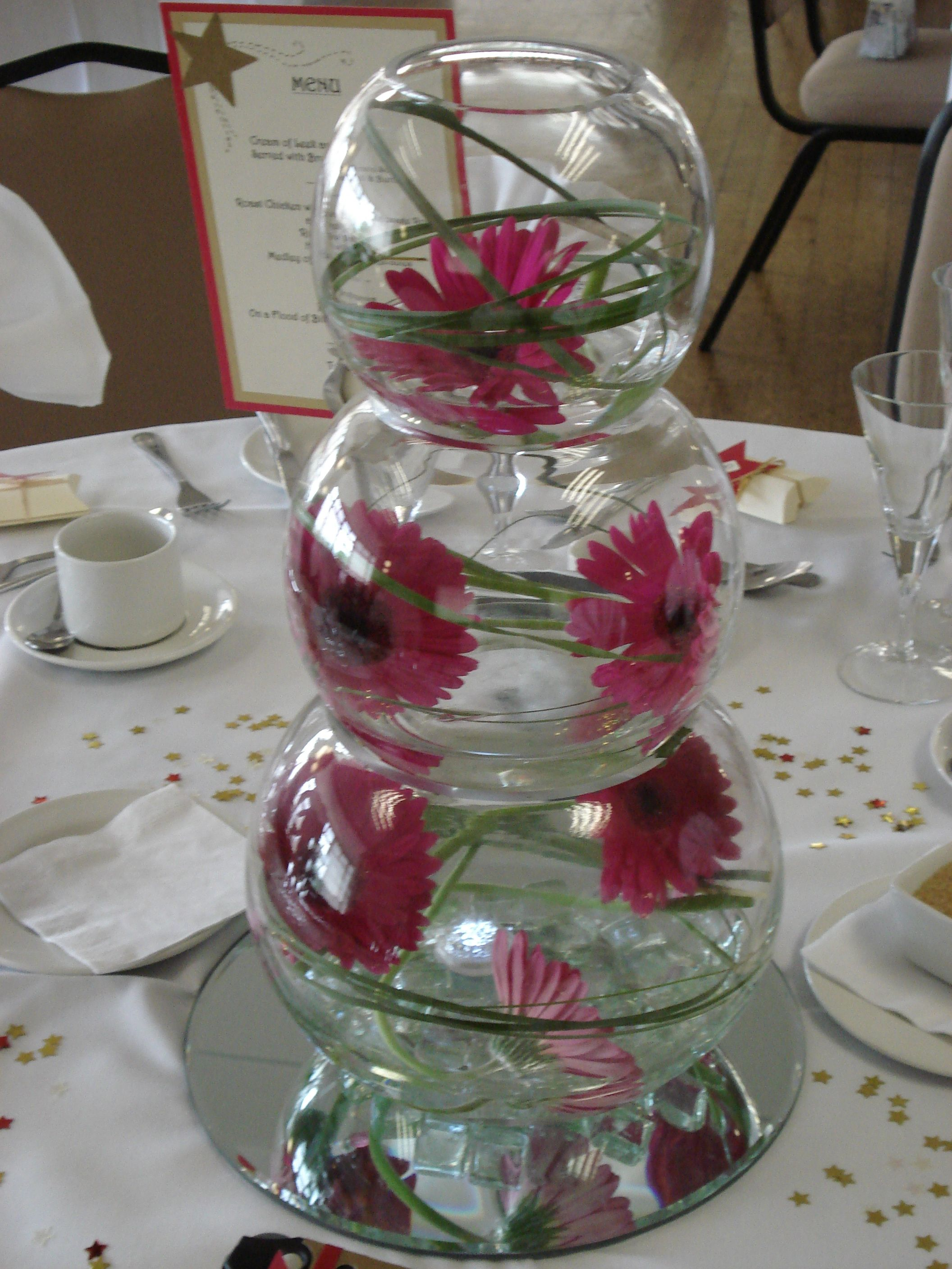 Stacked glass bowl wedding centerpieces fish