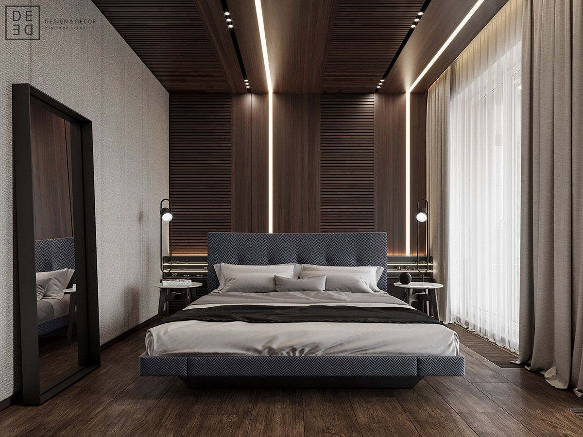 Luxurious Interior With Wood Slat Walls  Apartment interior