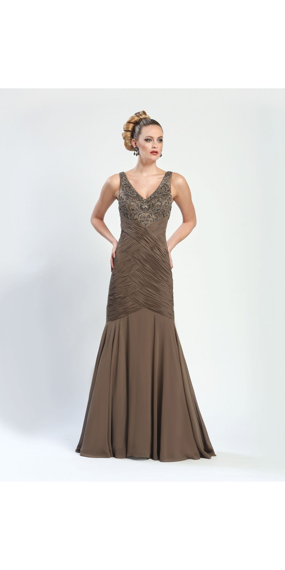 Shop for and buy this beautiful vintage style Sue Wong Taupe Long Dress. Click or call (323) 592-9172.