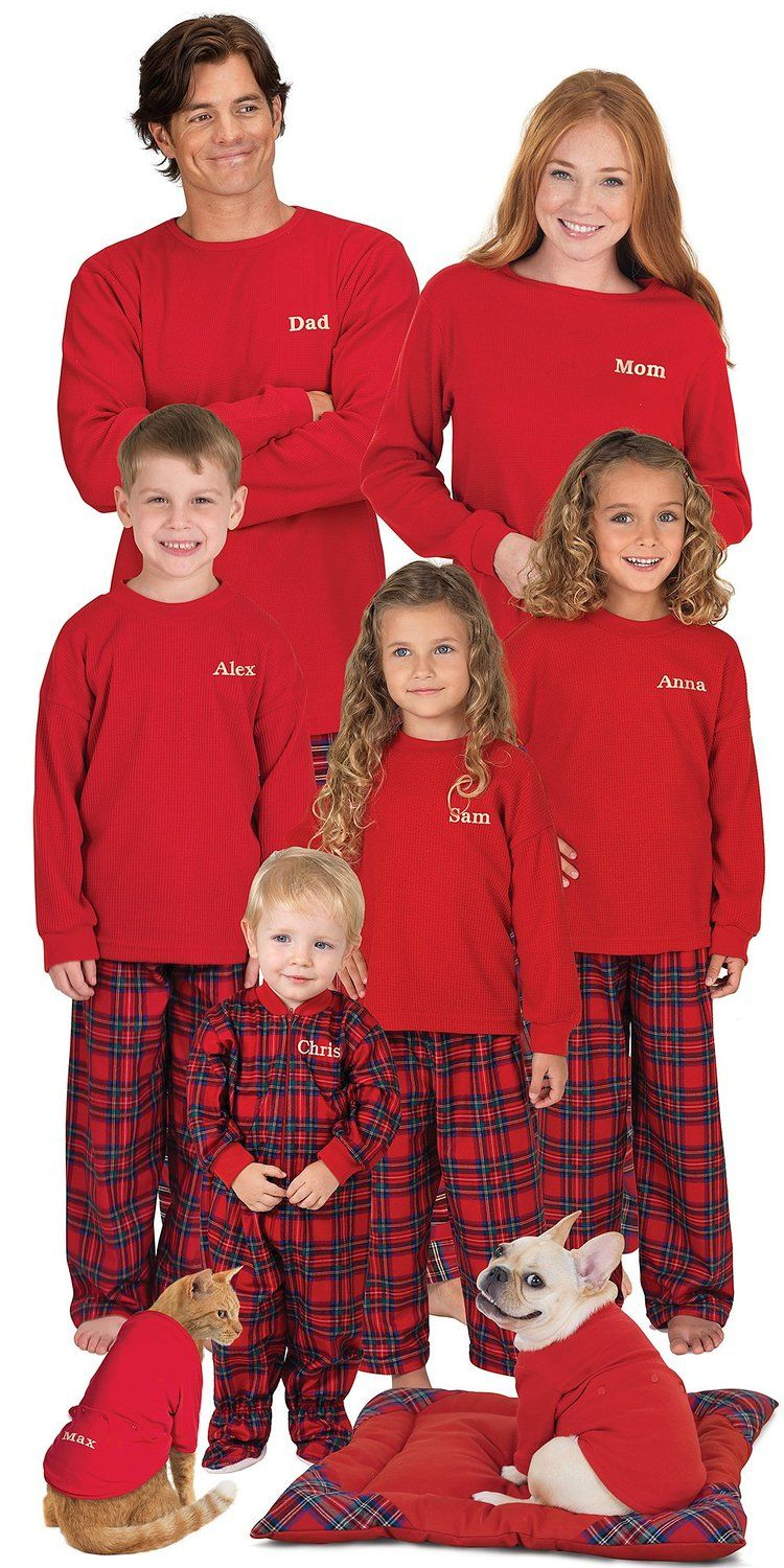 22ddb33eab PajamaGram Red Flannel Stewart Plaid Matching Family Christmas Pajama Set  at Amazon Women s Clothing store