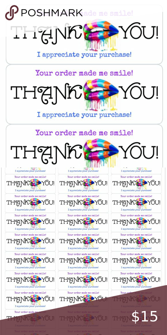 50 Mercari Thank You Stickers Labels