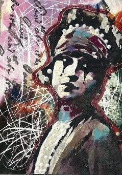 I am in love with this [harlequin flapper print of original mixed media collage by Joy Northrop @ PaperPetite.etsy.com]