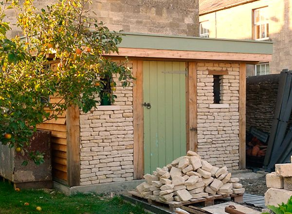 garden shed corsham wiltshire made from recycled local stone and waste materials