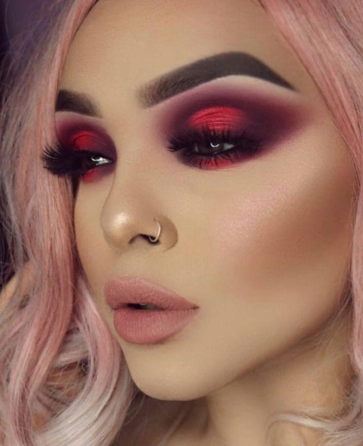 Ombretto trucco occhi rosso / rosa viola – pizzo
