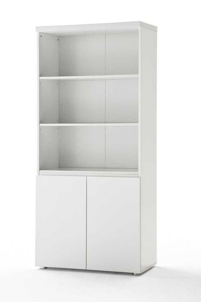 Büroschrank weiß hochglanz  SINTIA Kombi-Büroschrank weiß Hochglanz lackiert #office #regal ...