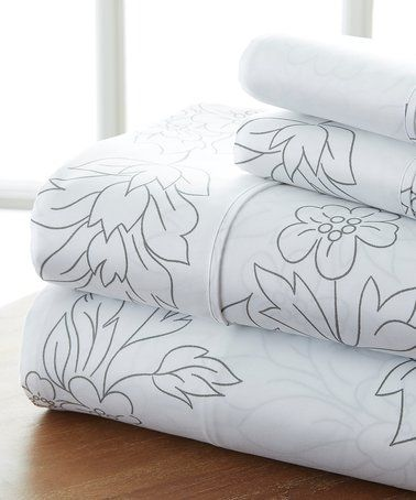 Another great find on #zulily! Gray Floral Home Collection™ Sheet Set #zulilyfinds