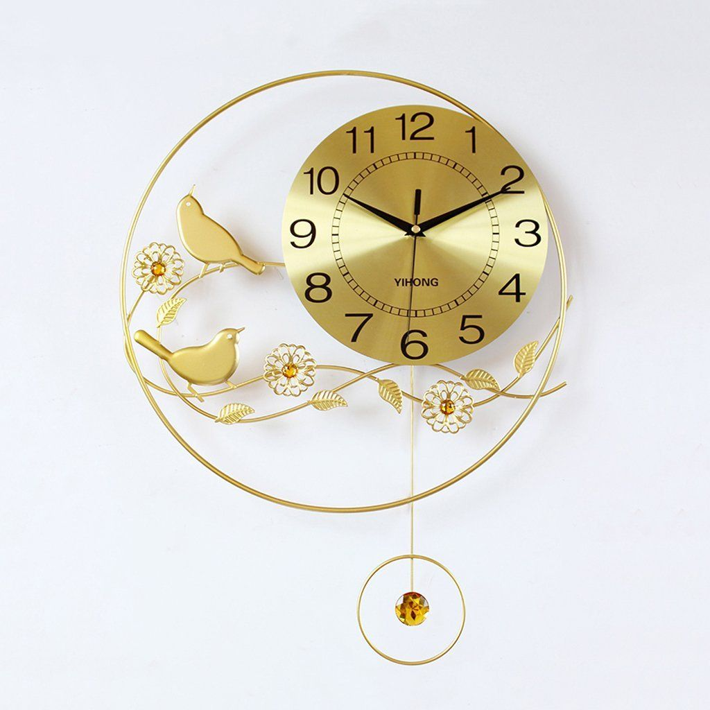 Amazon.com: Iron Gold Flowers and birds wall clock Can swing ...
