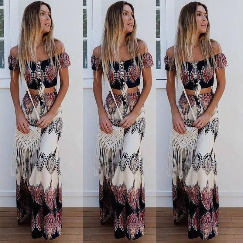 716b41139 Off-the-Shoulder Totem Print Crop Top & High Waisted Skirt (Two-Piece)