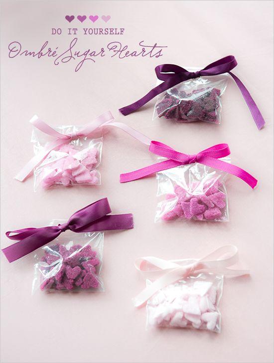 DIY ombre sugar hearts!