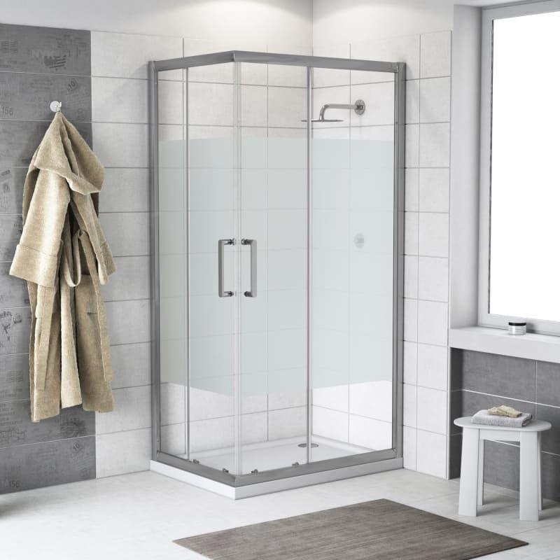 Box doccia scorrevole Quad 70 x 90 cm, H 190 cm in vetro