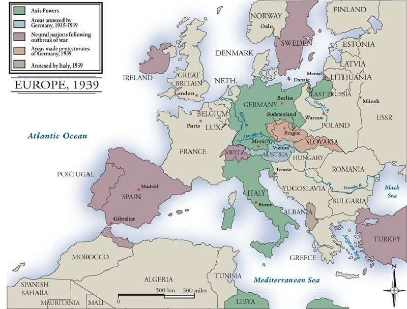 Map of the different alliances in europe in 1939 as world war ii map of the different alliances in europe in 1939 as world war ii was gumiabroncs Image collections