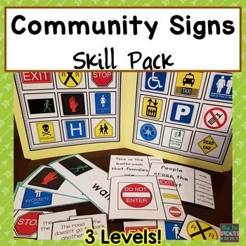 Being Able To Identify And Understand Community Signs Is A Crucial Life Skill These Ac Life Skills Lessons Life Skills Classroom Life Skills Special Education