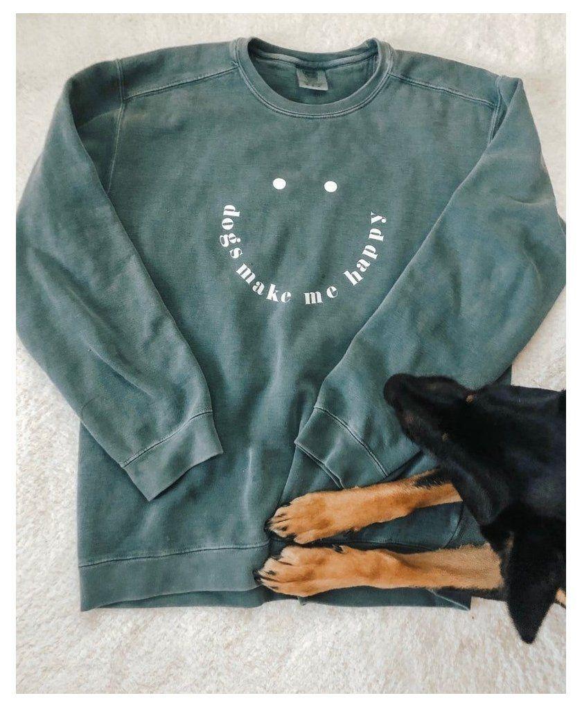 Dogs Make Me Happy Comfort Colors Crewneck Sweatshirt Etsy Blue Crewneck Sweatshirt Dogs M Comfort Colors Sweatshirt Cute Shirt Designs Sweatshirt Designs [ 1021 x 840 Pixel ]