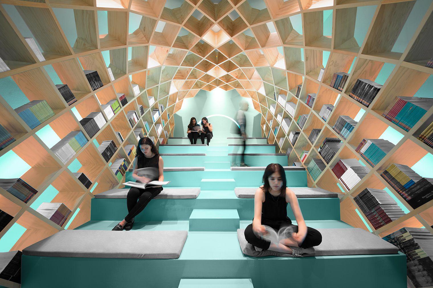 El estudio de diseño Anagrama es el autor de este envolvente espacio de lectura de la biblioteca de Conarte, ubicada Monterrey (Méjico).