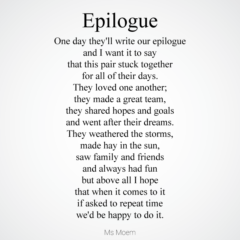 Epilogue ~ A Wedding Poem