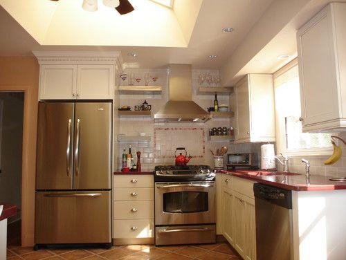 Small Kitchen Colors Design, -Red countertops? cream cabinets
