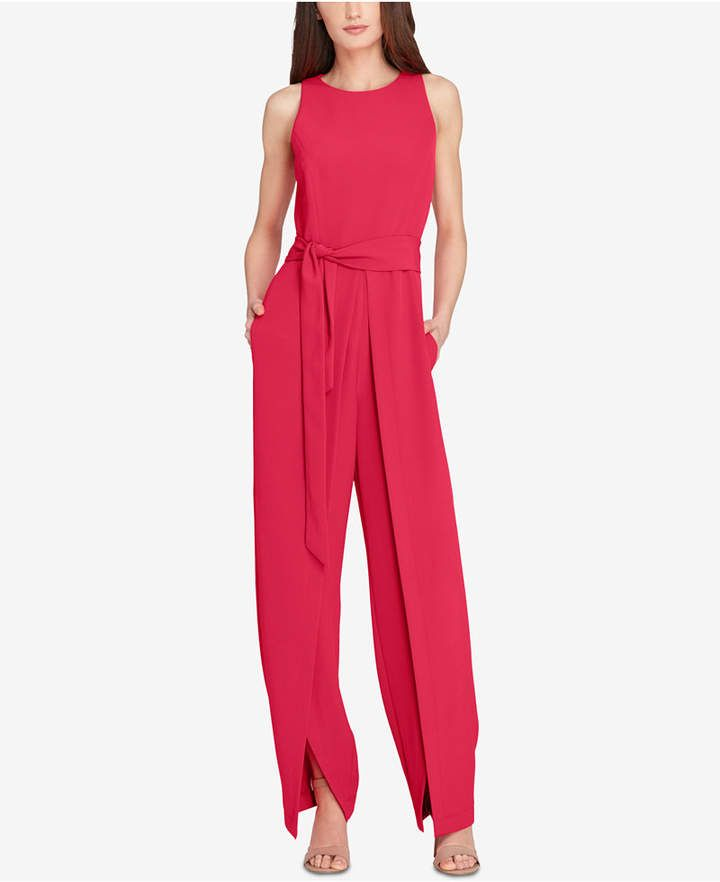 6c045d1df2db Tahari Asl Tie-Front Slit Jumpsuit at MACY S  Watermelon Jumpsuit - Modern  elegance comes effortlessly with this fluid Tahari jumpsuit that highlights  the ...