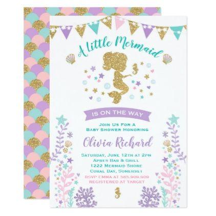 Mermaid Baby Shower Invitation Little Mermaid Baby baby birthday