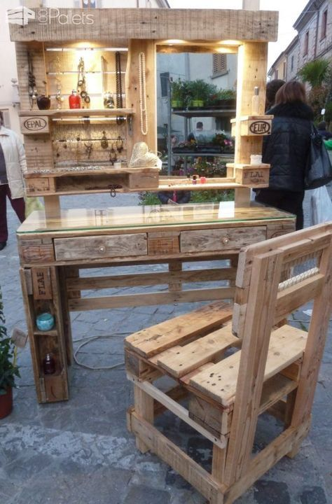 Gorgeous Mirrored Pallet Vanity Set With Jewelry Rack Pallet Benches,  Pallet Chairs U0026 Stools Pallet