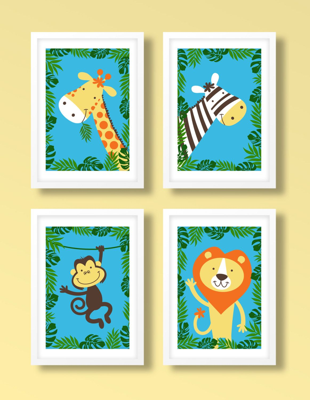 Childrens jungle print set , animal print set, animal wall art ...