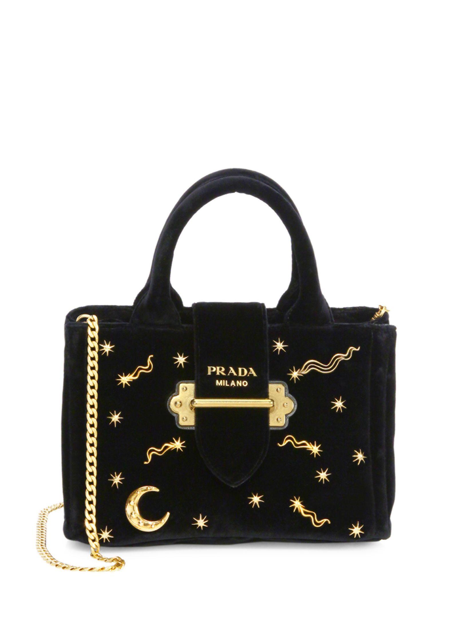 Prada Giardiniera Studded Velvet Chain Handbag