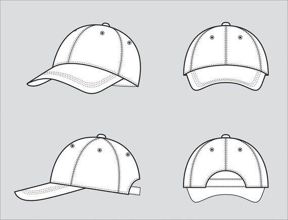 Baseball Cap Fashion Flat Sketch Adobe Illustrator Design Etsy Adobe Illustrator Design Flat Drawings Flat Sketches