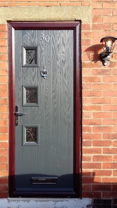 3 Square Contemporary Composite Front Door In Grey With Brown Frame