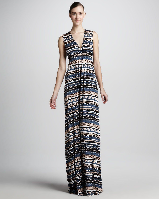 Rachel Pally Long Folk-Print Caftan Dress, Womens - Neiman Marcus ...