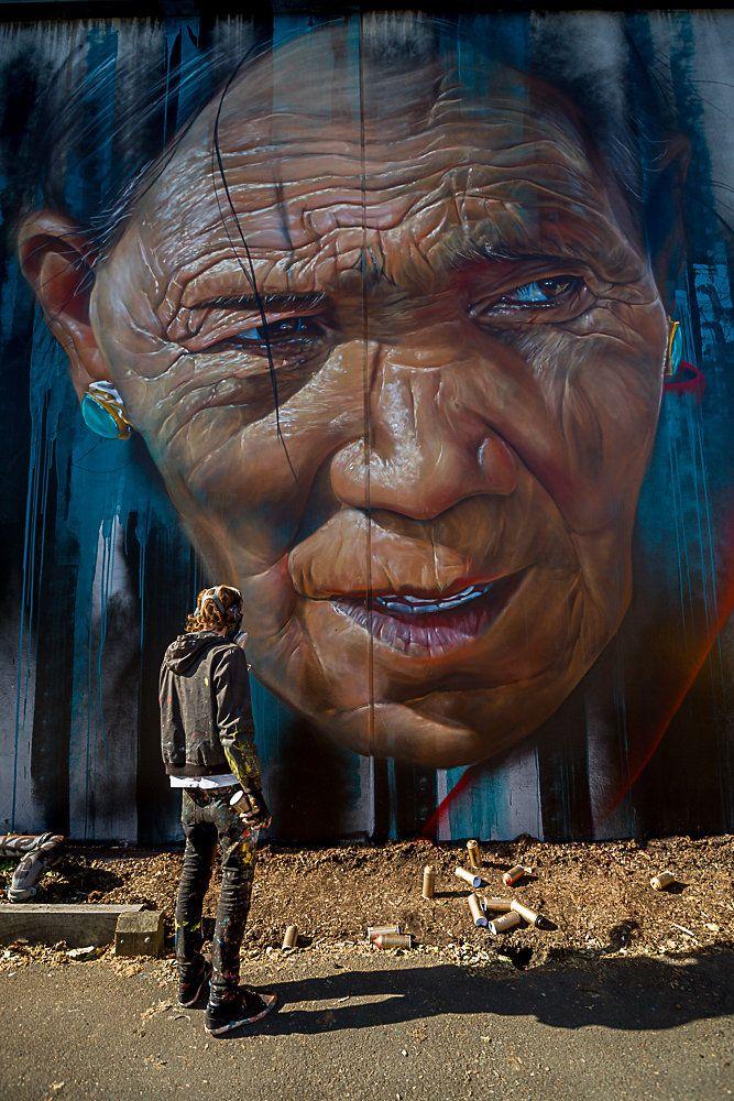Woman Street Art Graffiti .Adnate in Melbourne, Australia