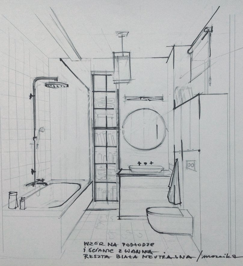 sketch of the bathroom | Interior design sketches, Interior ...
