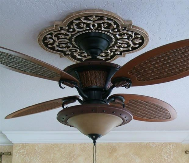 Ceiling Medallion by Marie Ricci. Mediterranean Vine shown in distressed  brown. Ceiling Fan from Lowes.
