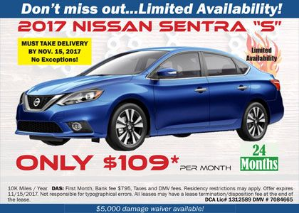 2017 Nissan Sentra S 109 Month Nissan Sentra Nissan New Jersey