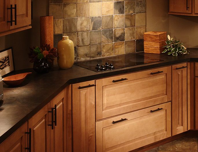 laminate countertops | Dark laminate counter maple kitchen ... on What Color Countertops Go With Maple Cabinets  id=40424
