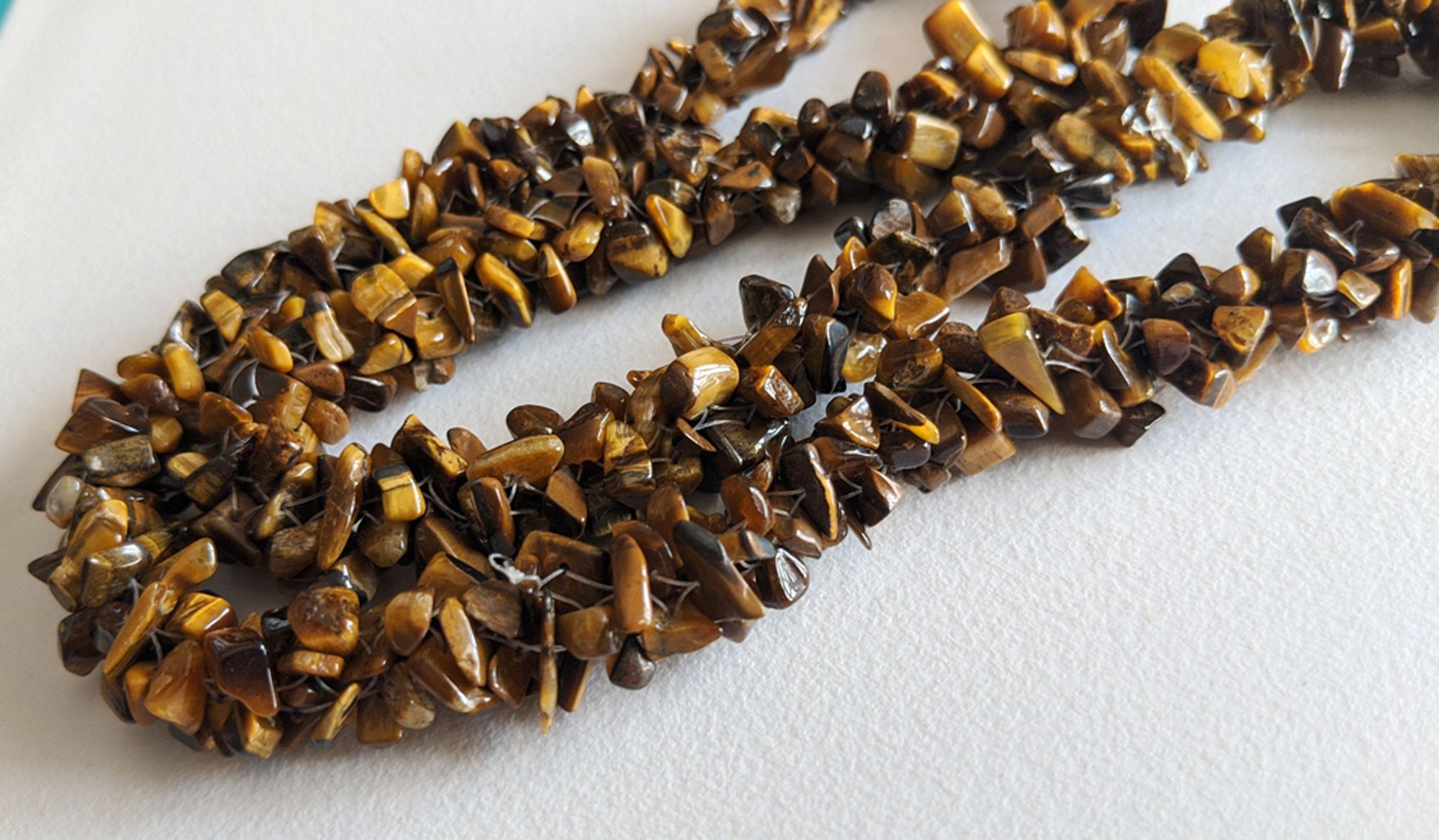 Brown Uncut Tiger/'s Eye Nugget Chip Black Plated Handmade Gemstone Rosary Chain