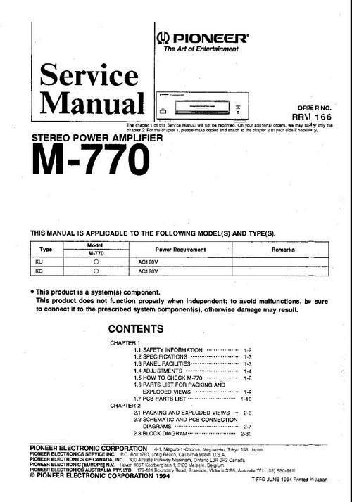 pioneer m 770 power amplifier original service manual pinterest rh pinterest com au Pioneer M 91 Pioneer 980 Amp M