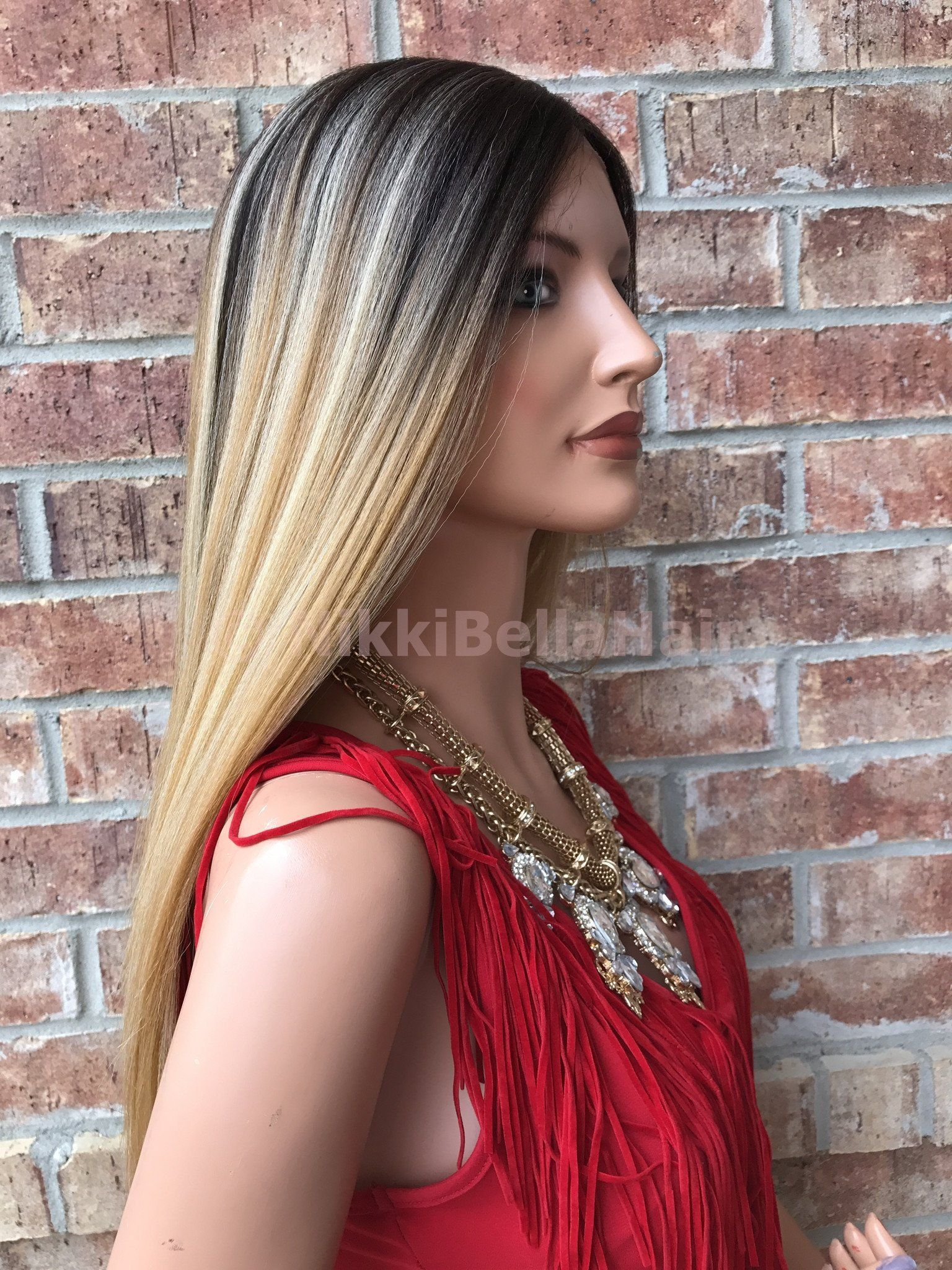 Vanessa Mixed Carmel Blond Straight 22 Lace Front Wig