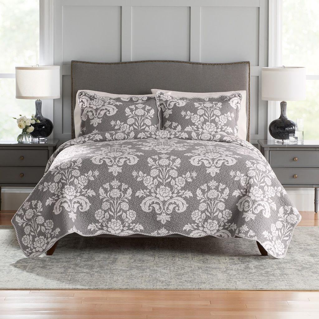 Croft Barrow Sarah Reversible Cotton Quilt Or Sham Light Grey