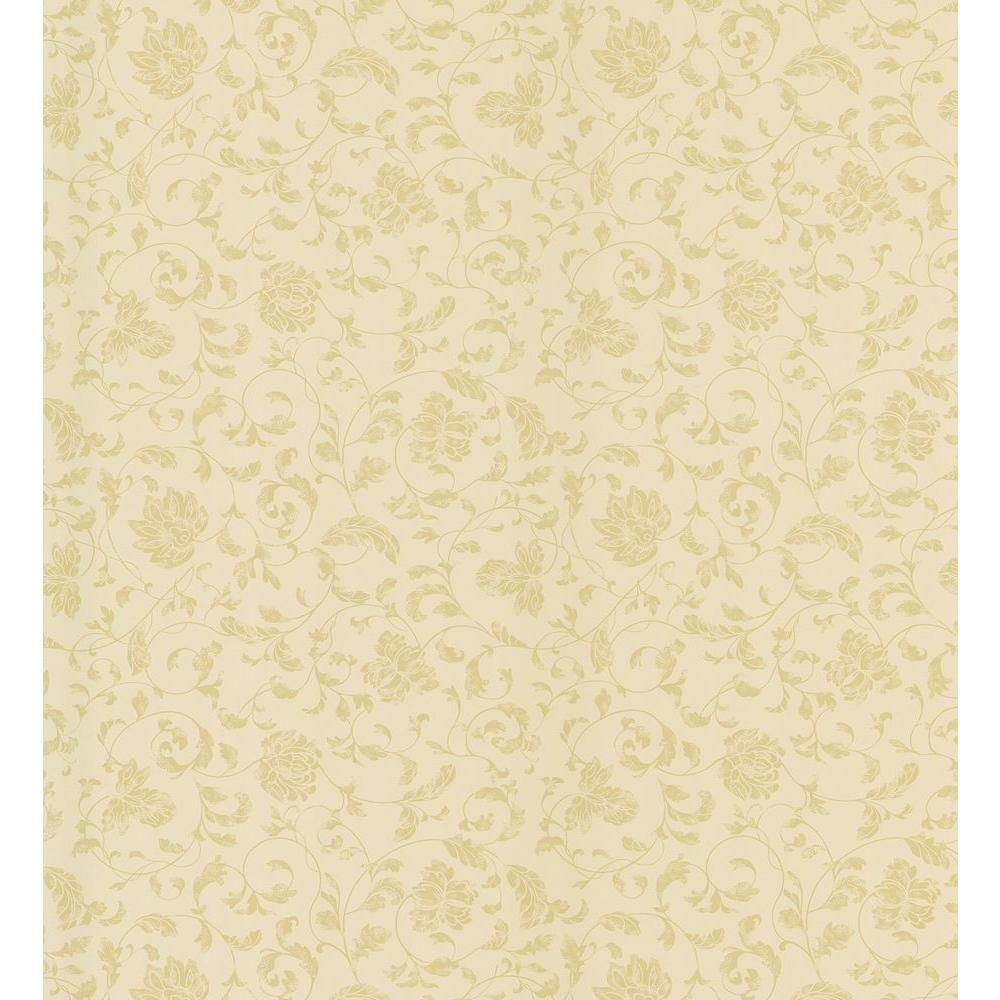 Cottage Living Gold Jacobean Stencil Wallpaper Sample, Yellow ...