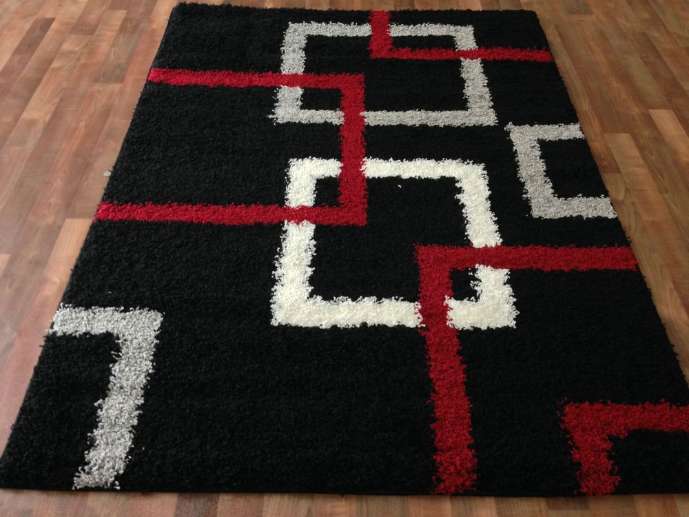 Moder Black Shaggy Area Rug 5x7 White Silver Gray Red Squares