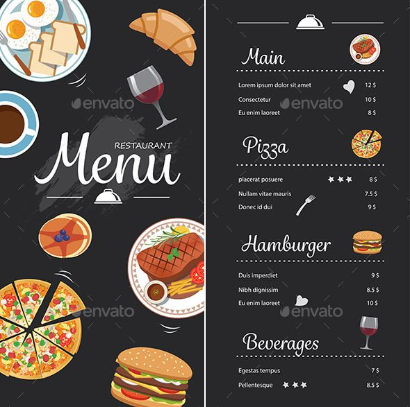 Restaurant Food Menu Design With Chalkboard  Free Food Menu Template