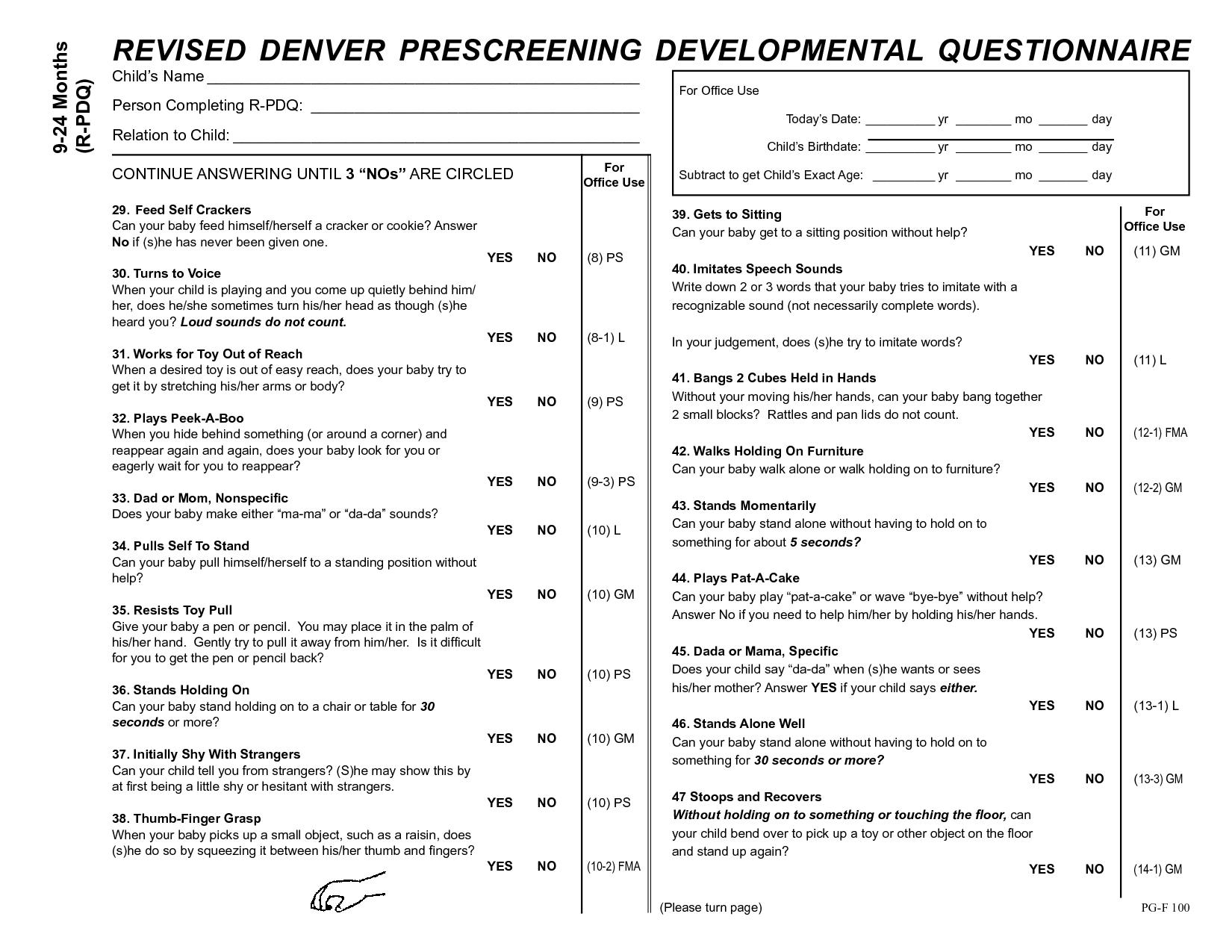 Denver Prescreening Developmental Questionnaire Ii  Google Search