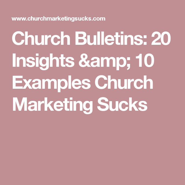church bulletins 20 insights 10 examples church marketing sucks