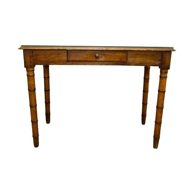 Image of Antique Leather & Glass Top Writing Table Desk