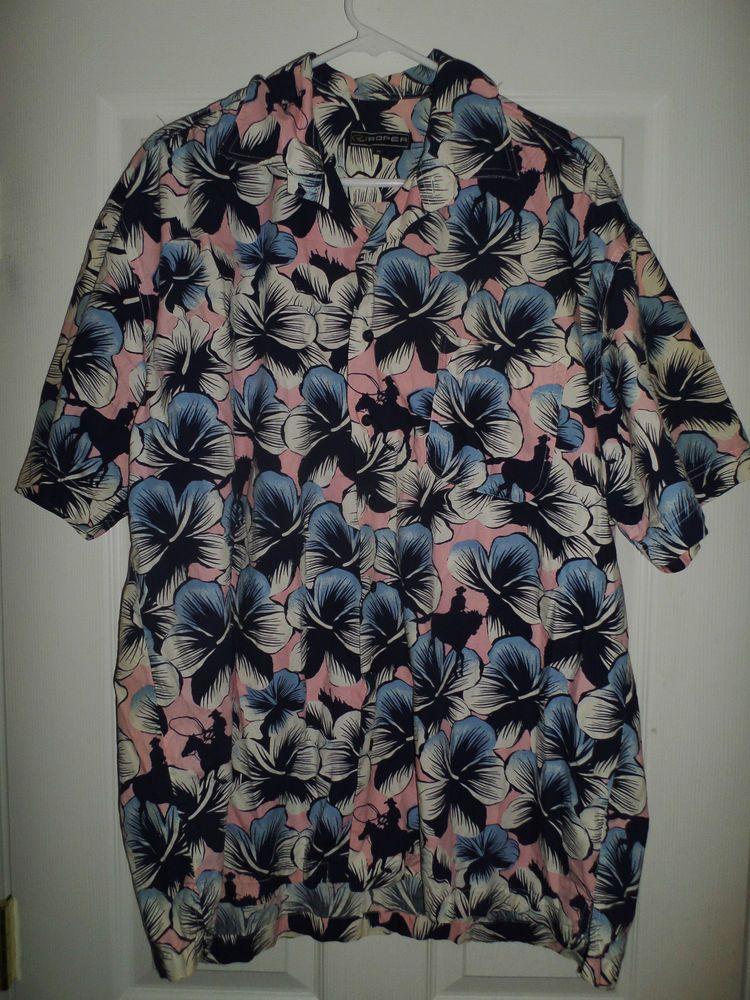 Men's Blue, Pink, Blue ROPER Flowers Button Up Short Sleeve Shirt, Size XL, GUC #ROPER #HawaiianButtonUpStyleShirt