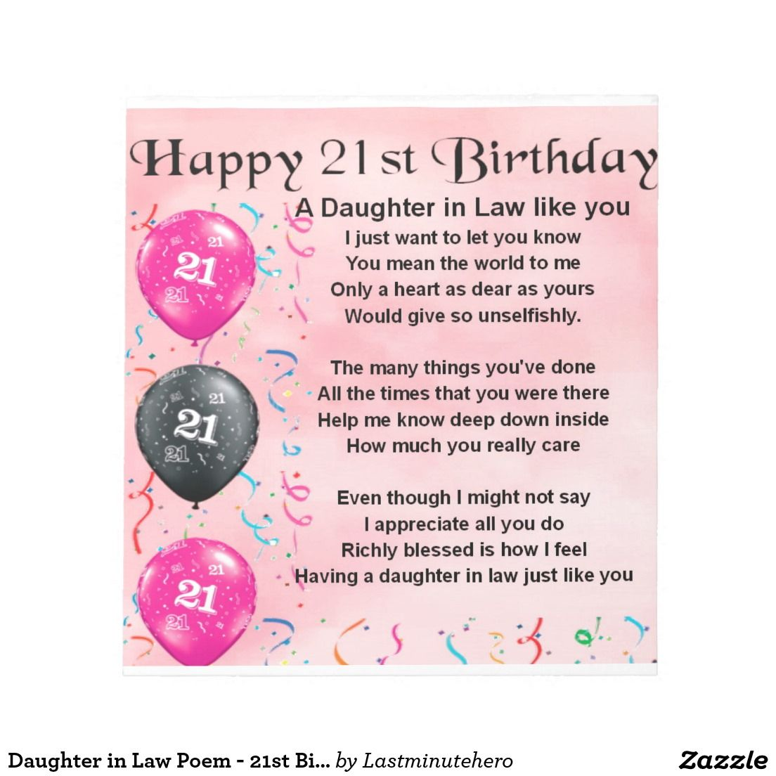 Daughter In Law Poem - 21st Birthday Notepad